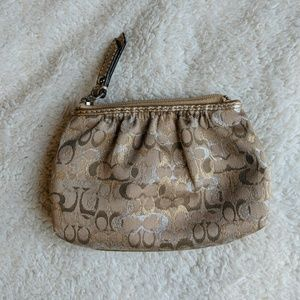 Coach Pleated Signature C Gold Change Purse